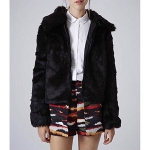 Topshop Claire Black Faux Fur Bomber Jacket